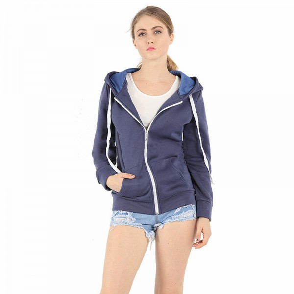 Long sleeve Hoodies Women Men Unisex Plain Zip Up Hooded Sweatshirt Zipper Jacket Overcoat Outerwear Hoodies Extra Image 4