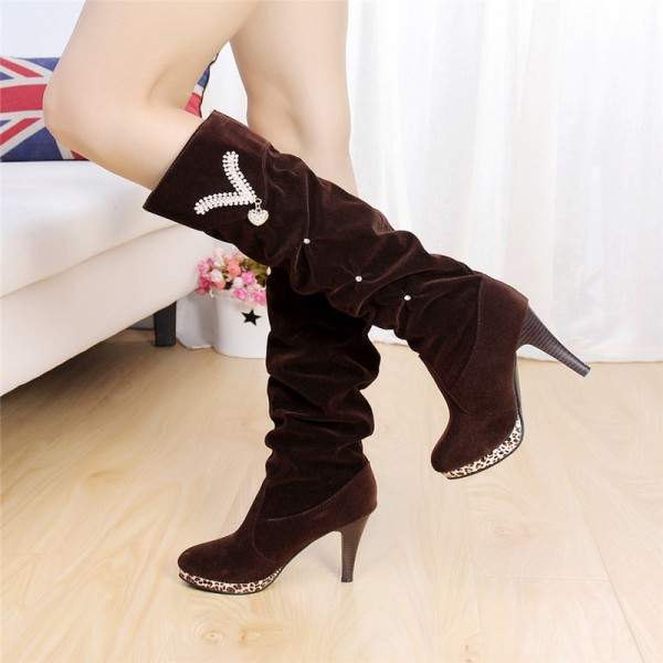 Long Velvet Boots For Women Knee High Warm Winter Heels  Pointed Toe Solid Fashion Female Boots Extra Image 5