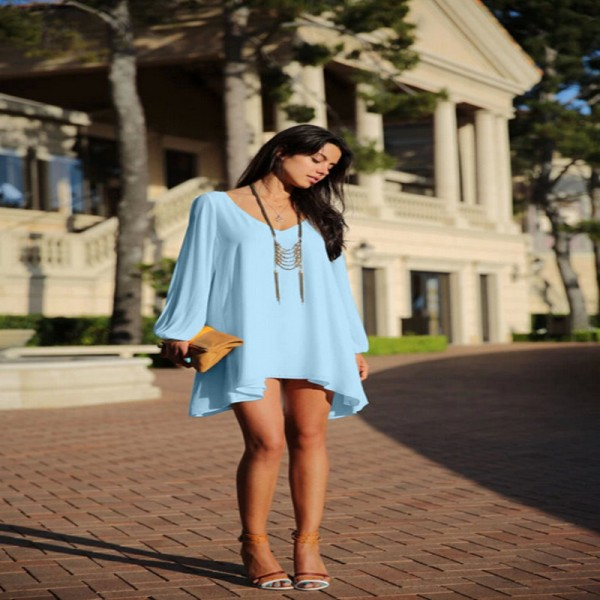 Loose Chiffon Casual Beach Dress V Neck A Line Off Shoulder Long Sleeve Bodycon Women Dress Thigh High Dresses Extra Image 4