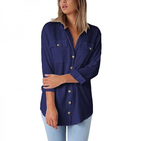 Loose Fitting Retro Vintage Cocktail Women Autumn Casual Tops T Shirt Loose Button Long Shirt Cotton for Ladies Extra Image 3