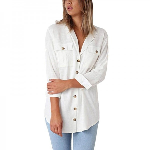 Loose Fitting Retro Vintage Cocktail Women Autumn Casual Tops T Shirt Loose Button Long Shirt Cotton for Ladies Extra Image 5