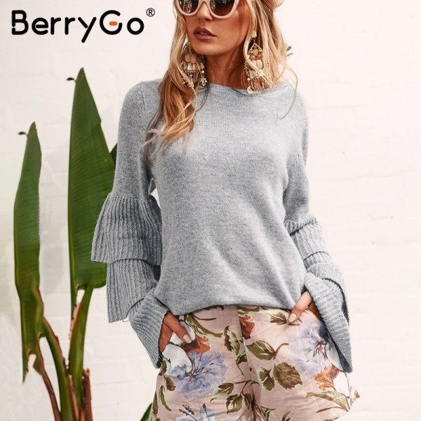 Loose flare sleeve knitting winter sweater Women elegant autumn pullover mujer invierno Soft pull knit shirt jumper Extra Image 4