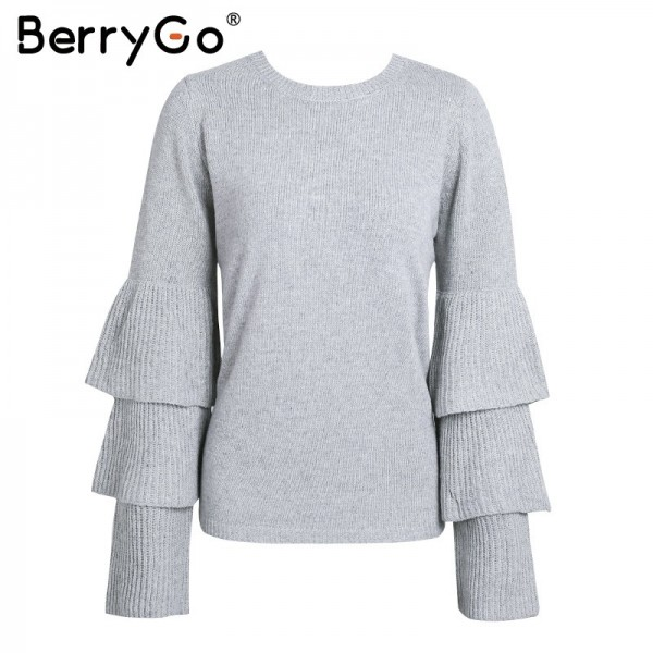Loose flare sleeve knitting winter sweater Women elegant autumn pullover mujer invierno Soft pull knit shirt jumper Extra Image 6