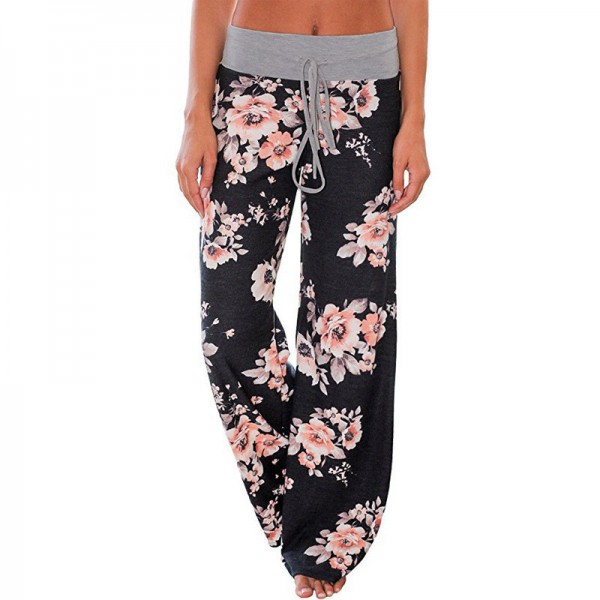 Loose Print Pink Flower Floral Harem Pants Capri Bottoms Sweatpants High Waist Female Pants Women Wide Leg Trousers Extra Image 3