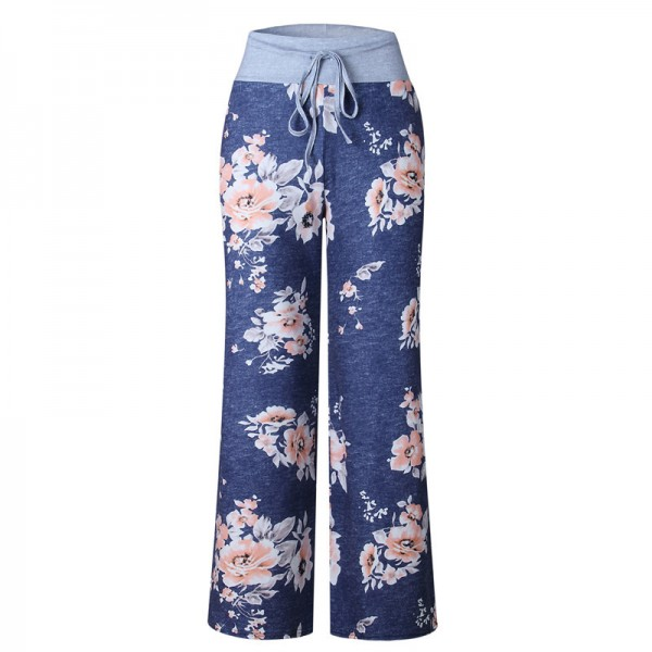 Loose Print Pink Flower Floral Harem Pants Capri Bottoms Sweatpants High Waist Female Pants Women Wide Leg Trousers Extra Image 5