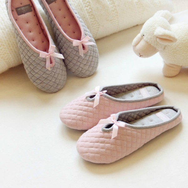 Lovely Bow Tie Home Indoor Slippers Soft Cotton Bottom New For Women Thumbnail