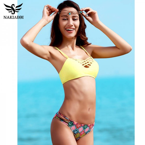 Low Waist Two Piece Swimsuits For Female Cross Bandage Beach Bathing Suits Halter Bikini Set Padded Suit Extra Image 5