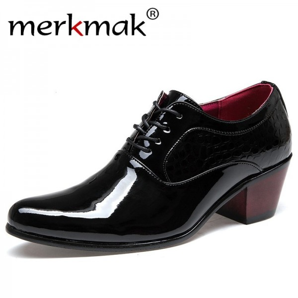 Luxury Men Dress Wedding Shoes Patent Glossy Leather High Heels Fashion Pointed Toe Heighten Oxford Shoes Party Prom Extra Image 1