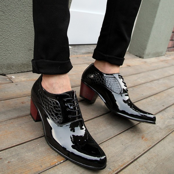 Luxury Men Dress Wedding Shoes Patent Glossy Leather High Heels Fashion Pointed Toe Heighten Oxford Shoes Party Prom Extra Image 2
