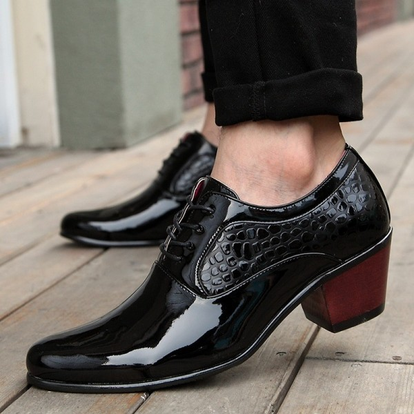 Luxury Men Dress Wedding Shoes Patent Glossy Leather High Heels Fashion Pointed Toe Heighten Oxford Shoes Party Prom Extra Image 3