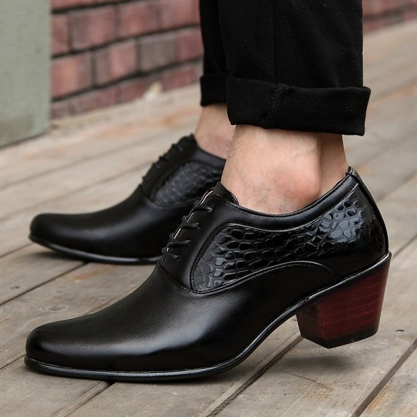 Luxury Men Dress Wedding Shoes Patent Glossy Leather High Heels Fashion Pointed Toe Heighten Oxford Shoes Party Prom Extra Image 4