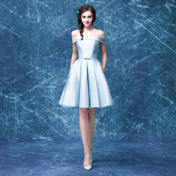 Buy luxury satin boat neck off the shoulder a line blue for Elegant wedding party dresses