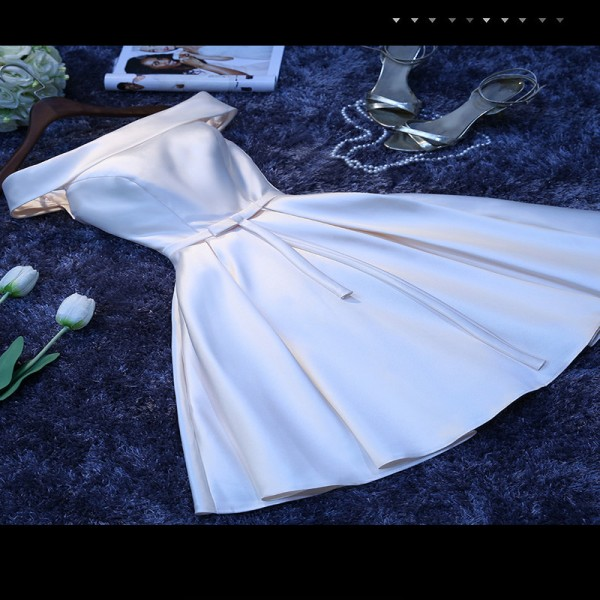 Luxury Satin Boat Neck Off The Shoulder A Line Blue Short Evening Dresses Bridal Party Elegant Plus Size Prom Dress Extra Image 4