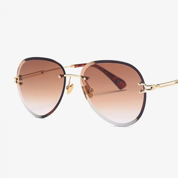 Luxury Vintage Glasses Rimless Sunglasses Women Big Clear Oval Glasses Brand Designer Gradient Sun Glasses Tinted Extra Image 3