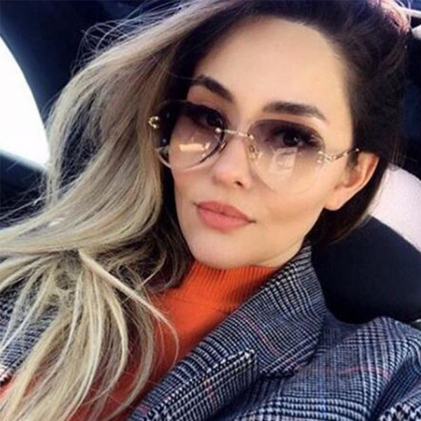 Luxury Vintage Glasses Rimless Sunglasses Women Big Clear Oval Glasses Brand Designer Gradient Sun Glasses Tinted Extra Image 5