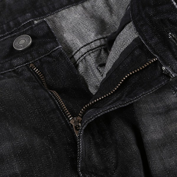 Male casual trousers cotton slim fit autumn winter Fashion Mens Biker Jeans Pants Motorcycle Denim Joggers Designer Extra Image 4
