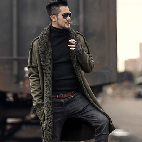 Man new design winter long furry coat warm plush cardigan men slim fashion European style black cotton cardigan Extra Image 2