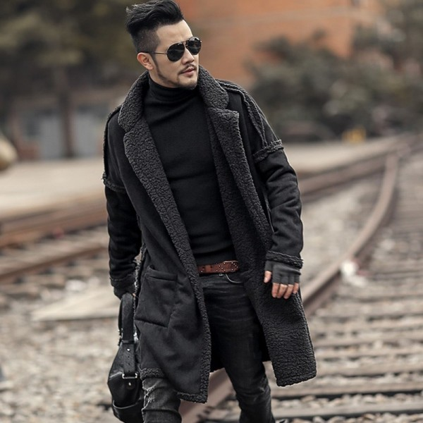 Man new design winter long furry coat warm plush cardigan men slim fashion European style black cotton cardigan Extra Image 3
