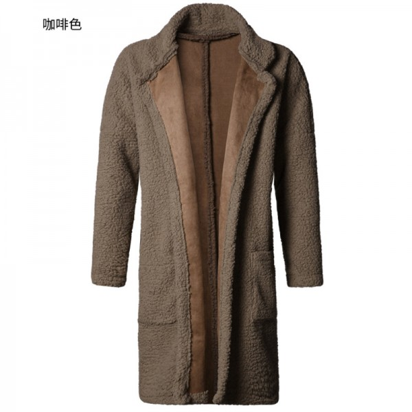 Man new design winter long furry coat warm plush cardigan men slim fashion European style black cotton cardigan Extra Image 4