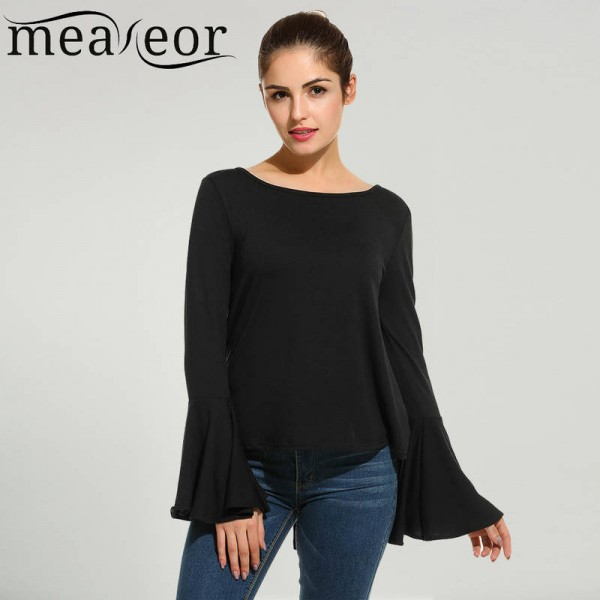 Meaneor Ladies Tops Shirts Spring Casual Loose Hollow Out O Neck Long Sleeve For Women Thumbnail