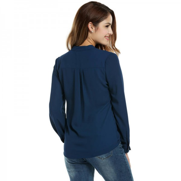 Meaneor New Arrival Chiffon Blouse Shrit Casual O Neck Long Sleeve Elegant Tops Women Thumbnail