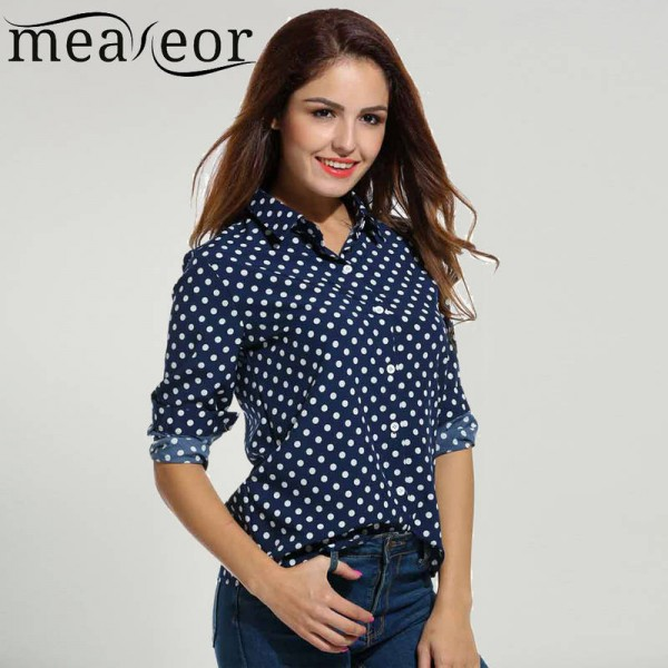 Meaneor Polka Dot Blouse Long Sleeve Chiffon Casual Loose Button Shirts Elegant Tops Women Thumbnail