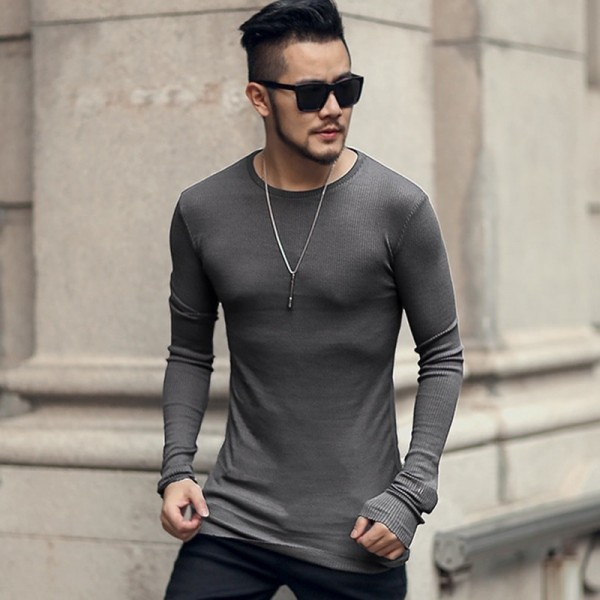 Men autumn new cotton thread long sleeve t shirt men solid color casual bottom slim fashion European style t shirt Extra Image 3