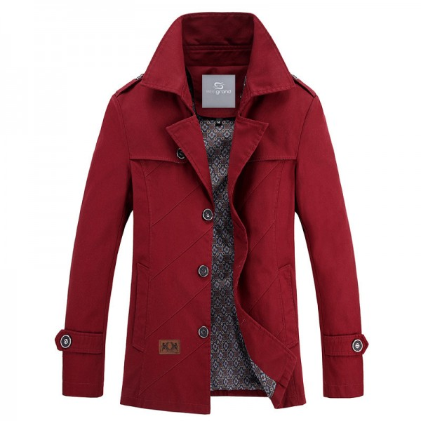 Men Autumn Overcoat Regular Length Turn down Collar Wide waisted High Quality Blends Casual Style Outwear Extra Image 2