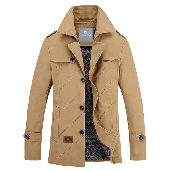 Men Autumn Overcoat Regular Length Turn down Collar Wide waisted High Quality Blends Casual Style Outwear Extra Image 3