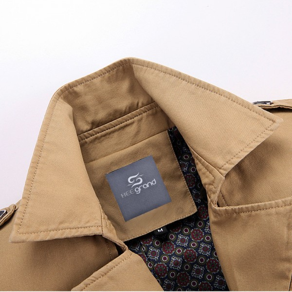Men Autumn Overcoat Regular Length Turn down Collar Wide waisted High Quality Blends Casual Style Outwear Extra Image 6