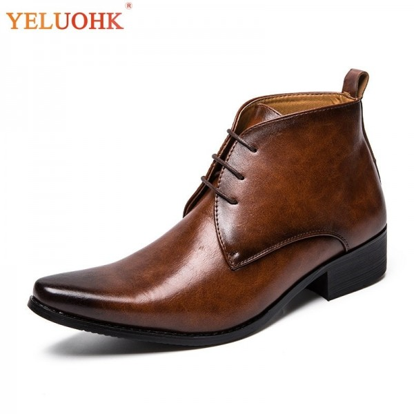 Men Boots Autumn Pointed Toe Fashion Leather Boots Men Vintage Black Brown Men Shoes Genuine Quality Ankle Boots Extra Image 1