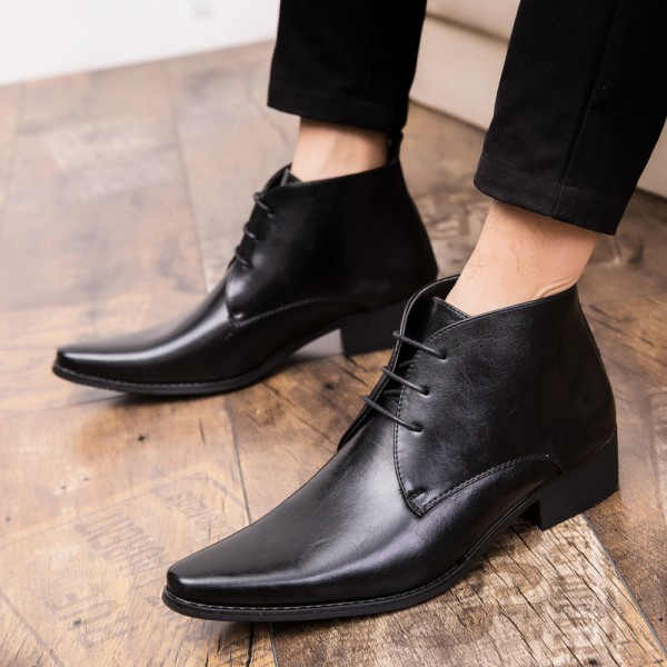 Men Boots Autumn Pointed Toe Fashion Leather Boots Men Vintage Black Brown Men Shoes Genuine Quality Ankle Boots Extra Image 3