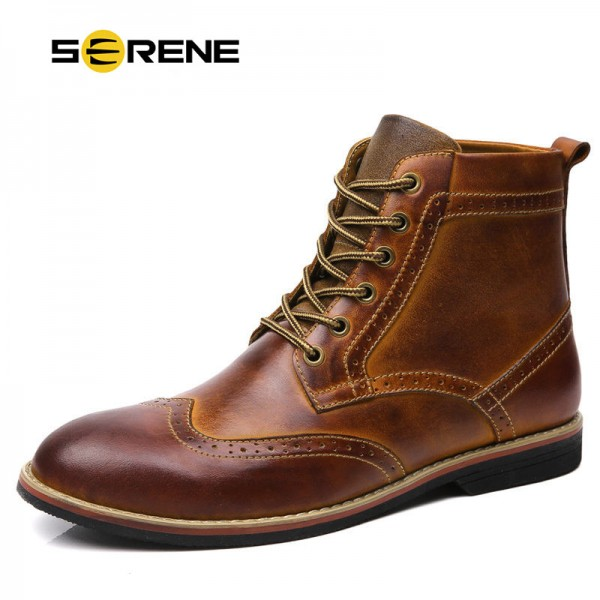 Men Boots Men Autumn Winter Boots Size 38 47 Russian style Handmade Warm Plus Size Men Split Ankle Boots Extra Image 1