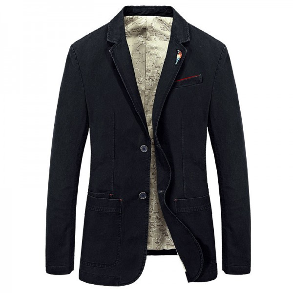 Men Casual Blazer 2018 Hot Sale Top Cotton Material Single Breasted Solid Color Design Slim Fitted Spring Suit
