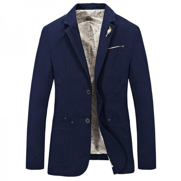 Men Casual Blazer 2018 Hot Sale Top Cotton Material Single Breasted Solid Color Design Slim Fitted Spring Suit Extra Image 5