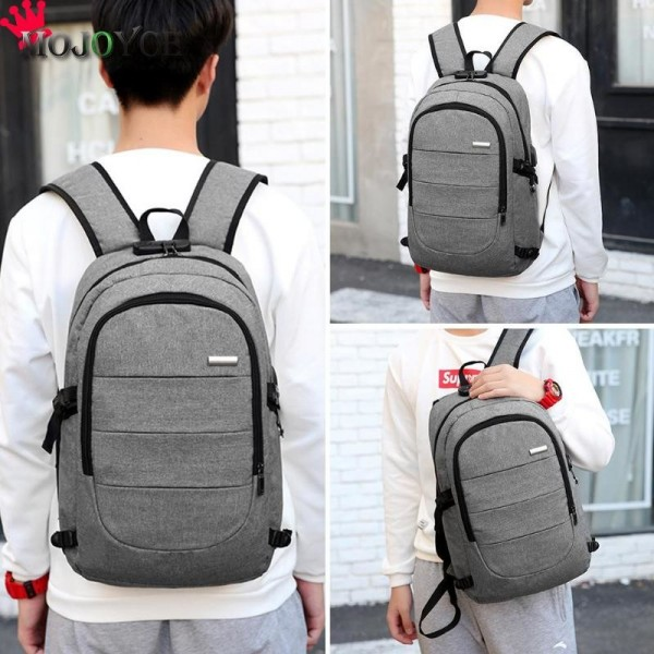 Men Casual Laptop Backpack Handbag USB Charging Shoulder Backpack Business Travel Knapsack Rucksack Backpack Extra Image 3