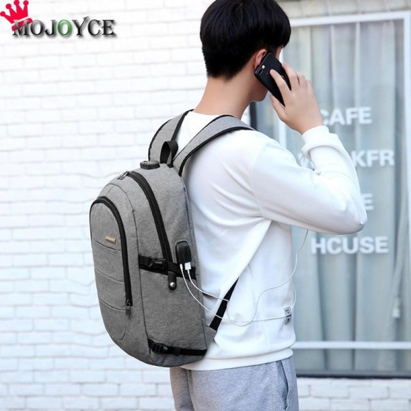 Men Casual Laptop Backpack Handbag USB Charging Shoulder Backpack Business Travel Knapsack Rucksack Backpack Extra Image 4
