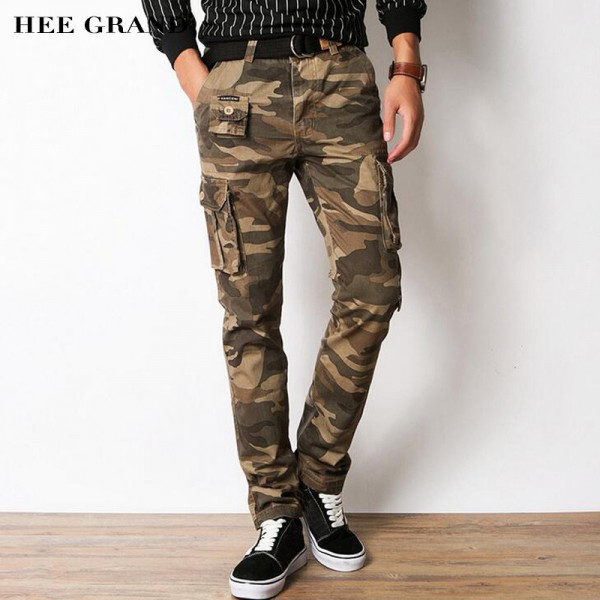 Men Casual Pants 2018 New Pure Cotton Material Multi Pockets Design Slim Fitted Camouflage Cargo Pants For Men Extra Image 1
