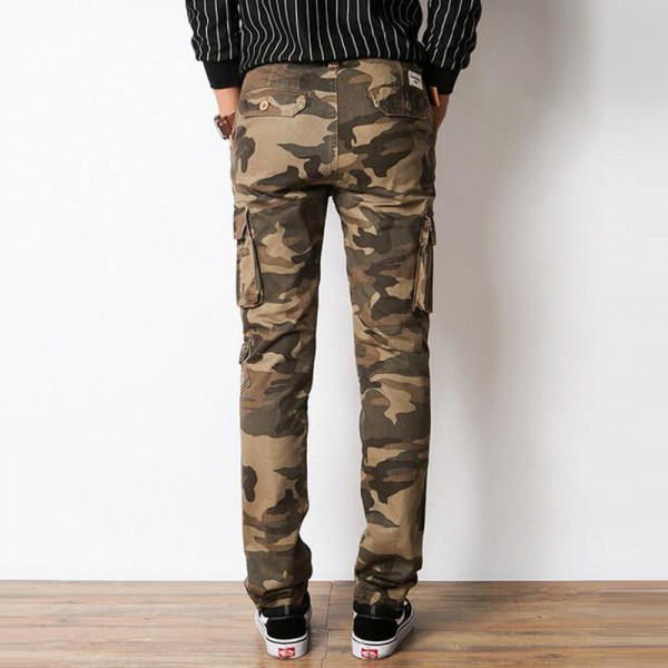 Men Casual Pants 2018 New Pure Cotton Material Multi Pockets Design Slim Fitted Camouflage Cargo Pants For Men Extra Image 2