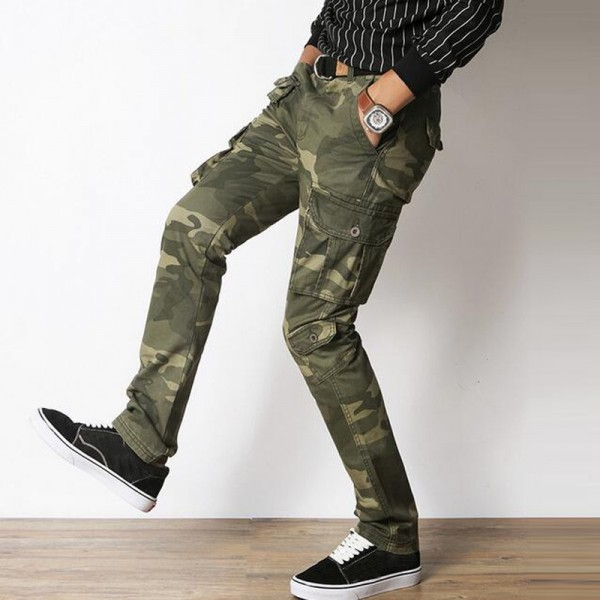 d46cf4052 Men Casual Pants 2018 New Pure Cotton Material Multi Pockets Design Slim  Fitted Camouflage Cargo Pants ...