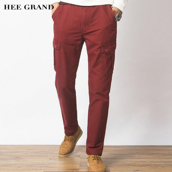 Men Casual Pants New Genuine Cotton Material Multi Pockets Design Four Seasons Loose Style Cargo Pants Trousers Men Extra Image 1