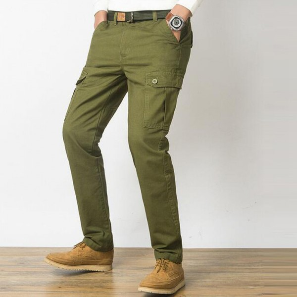 Men Casual Pants New Genuine Cotton Material Multi Pockets Design Four Seasons Loose Style Cargo Pants Trousers Men Extra Image 4