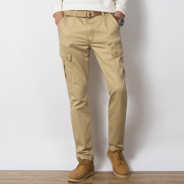 Men Casual Pants New Genuine Cotton Material Multi Pockets Design Four Seasons Loose Style Cargo Pants Trousers Men Extra Image 5