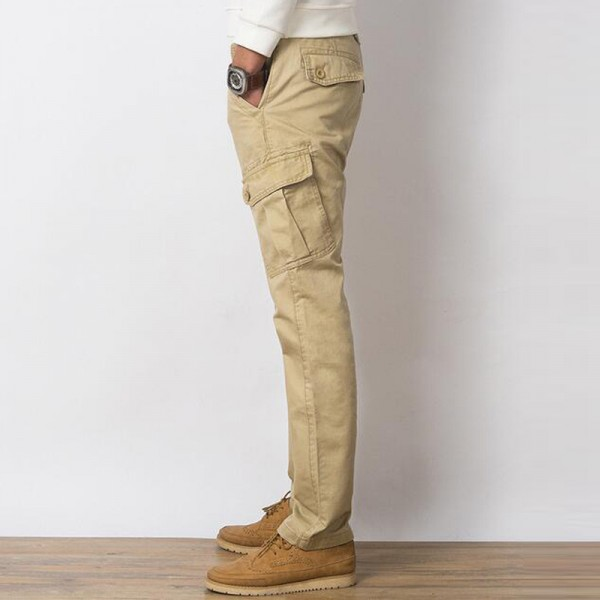 Men Casual Pants New Genuine Cotton Material Multi Pockets Design Four Seasons Loose Style Cargo Pants Trousers Men Extra Image 6