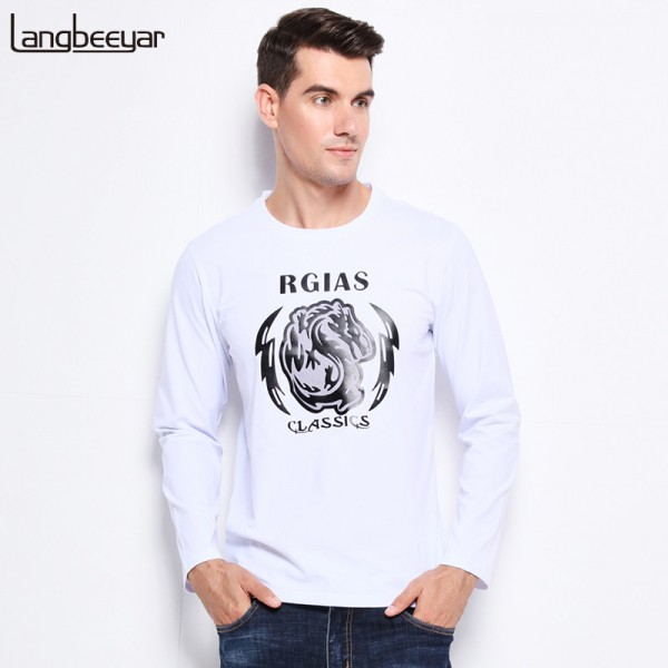 Men Clothes Tee Shirt Trend Print Slim Fit Long Sleeve T Shirt Men O Neck Mercerized Cotton Casual Mens T Shirts Extra Image 1