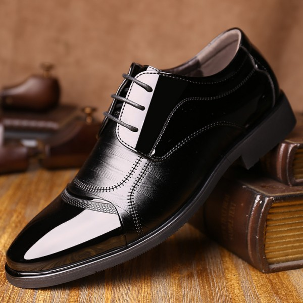 Men Fashion Oxford Business Men Shoes PU Leather Quality Soft Dress Shoes Breathable Mens Flats Office Shoes Extra Image 3