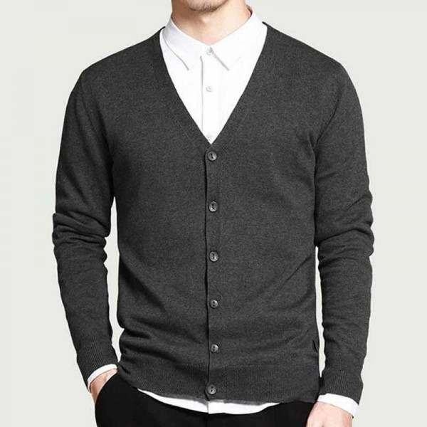 Men Fashion Style Cardigan V Neck Single Breasted Thin Wool Whole Cotton Comfortable Material Autumn Cardigans Sweaters Extra Image 3