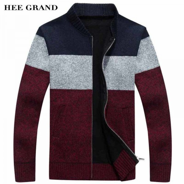 Men Fashion Style Thick Sweater Stand Collar Spliced Color Thin Wool Warm Late Autumn Cardigan Plus Size M 3XL Extra Image 1
