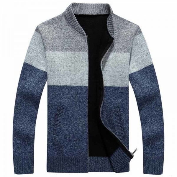 Men Fashion Style Thick Sweater Stand Collar Spliced Color Thin Wool Warm Late Autumn Cardigan Plus Size M 3XL Extra Image 2