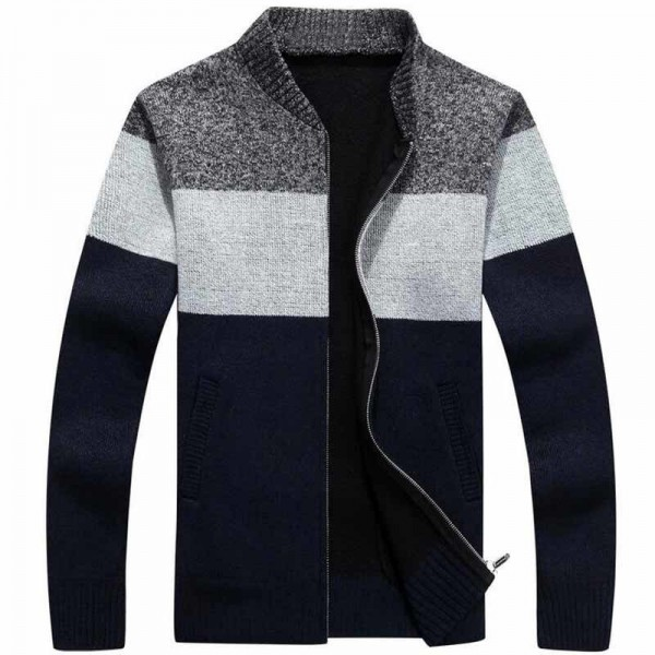 Men Fashion Style Thick Sweater Stand Collar Spliced Color Thin Wool Warm Late Autumn Cardigan Plus Size M 3XL Extra Image 3